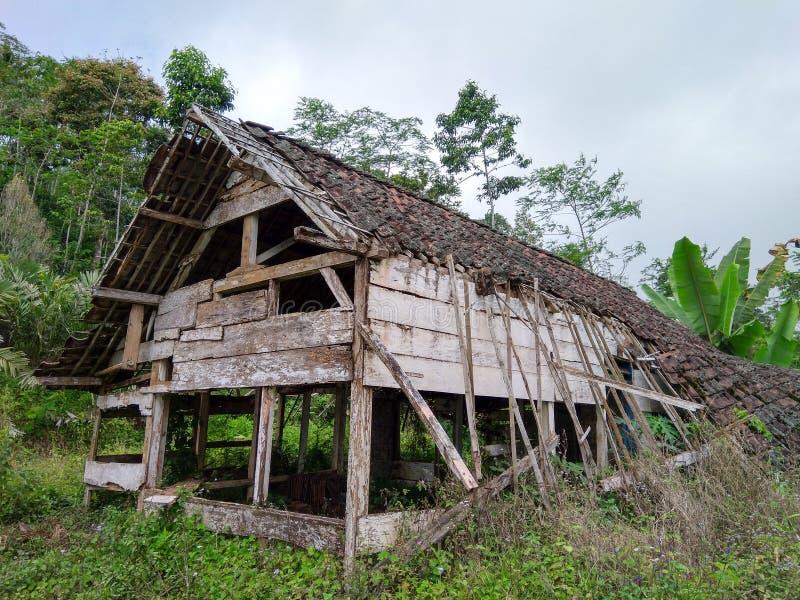 Casa vacía dañada y frecuentada en el medio del bosque imagen de archivo
