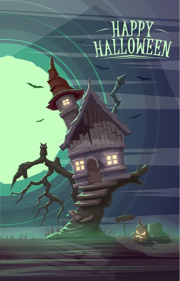 Casa velha assustador da bruxa na árvore Cardposter feliz de Dia das Bruxas ilustração do vetor