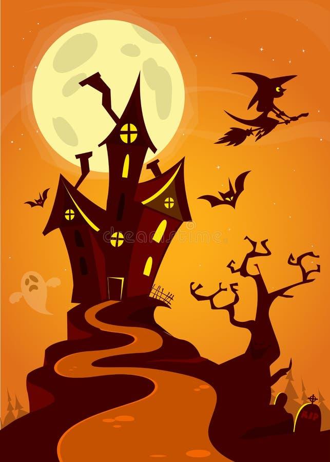 Casa velha assustador do fantasma Cardposter de Dia das Bruxas Ilustração do vetor ilustração royalty free