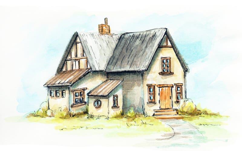 Casa velha da aquarela em um gramado verde