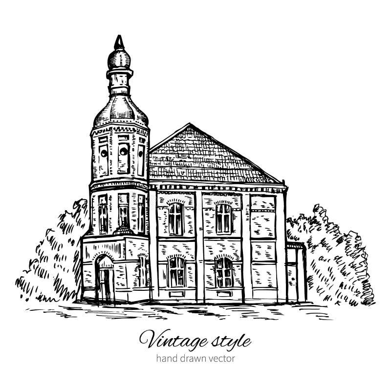 Casa velha da telha do esboço do vetor do vintage, igreja abandonada, linha esboçado arte da construção histórica isolada no bran ilustração do vetor