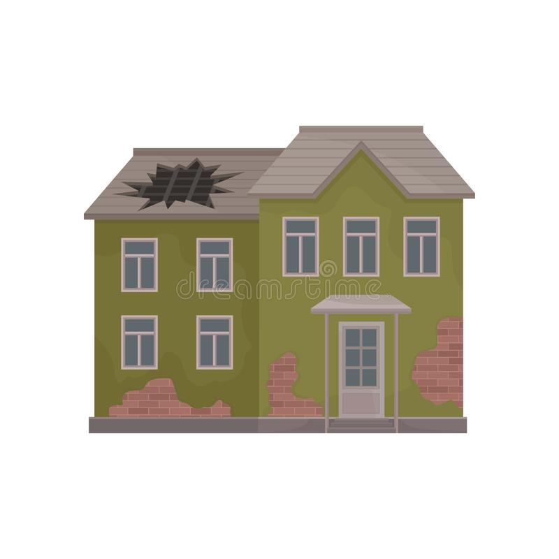 Casa velha do dois-andar com descascamento da pintura e do furo grande no telhado Edifício abandonado Ilustração lisa do vetor ilustração stock