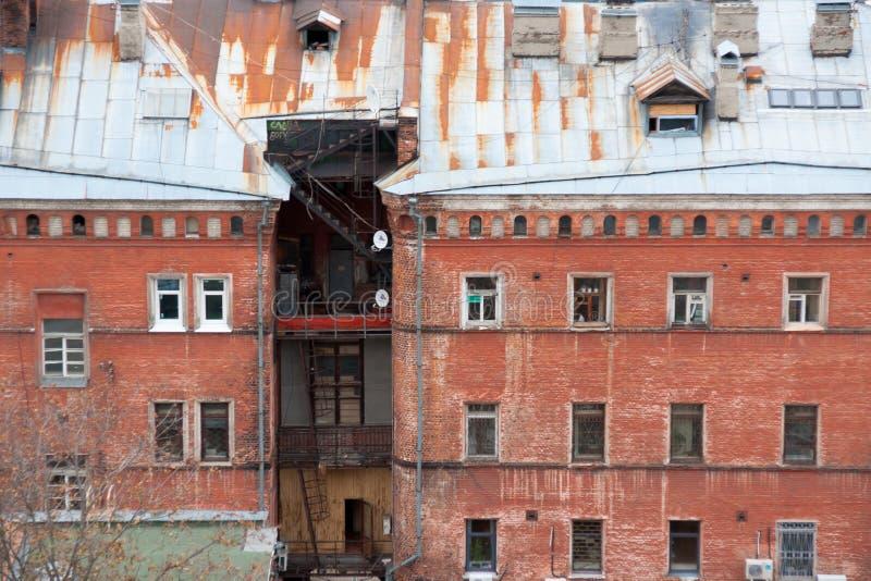 Casa velha do tijolo em Nizhny Novgorod, Rússia imagens de stock royalty free