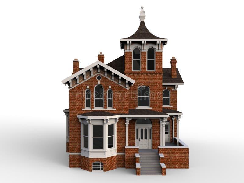 Casa velha no estilo vitoriano Impressão digital Espécie dos lados diferentes rendição 3d ilustração stock