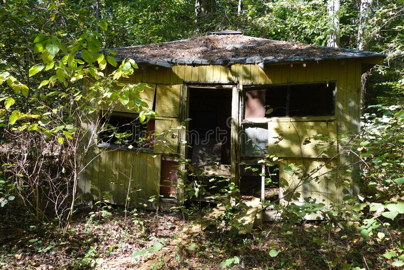 Casa verde abandonada nas madeiras imagens de stock royalty free