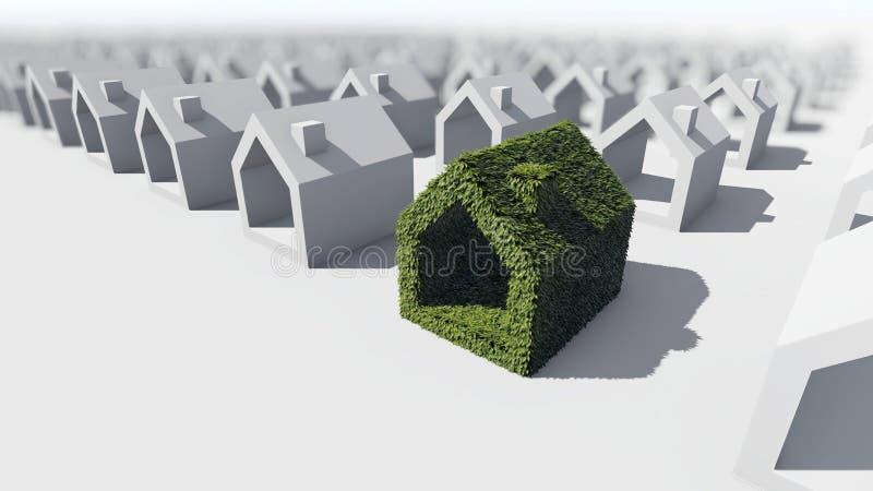 Casa verde com folhas verdes ilustração do vetor