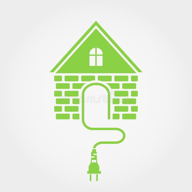 Casa verde com soquete, ícone home da eletricidade ilustração do vetor