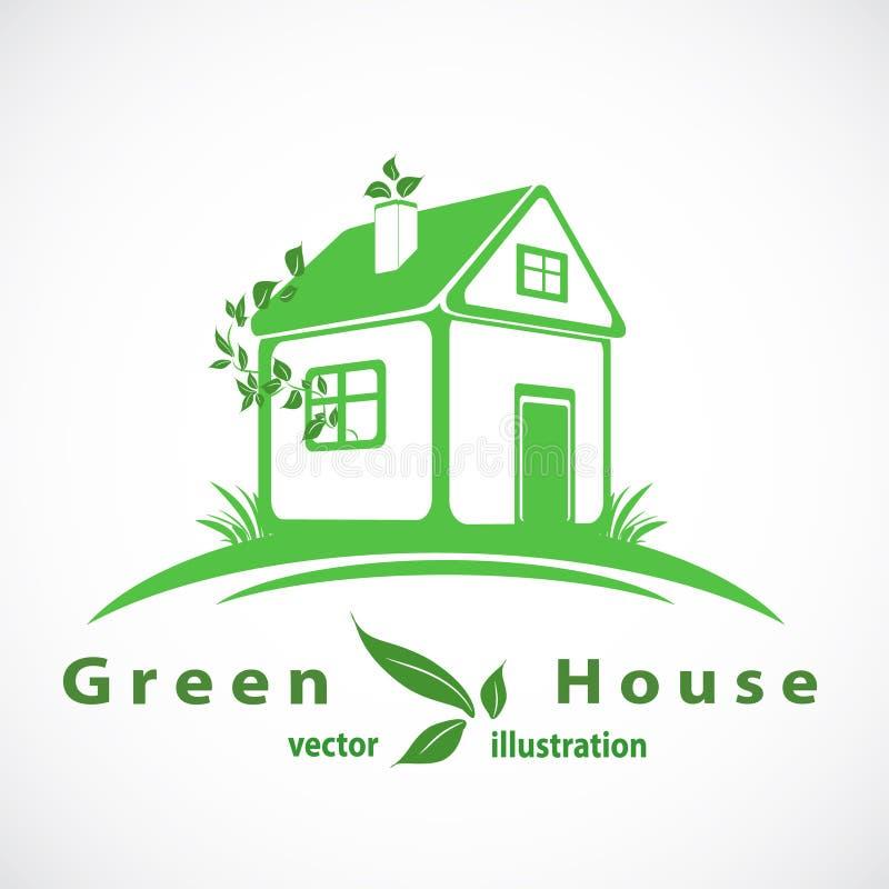 Casa verde con el logotipo de las hojas Hogar de Eco Vector Eps10 stock de ilustración