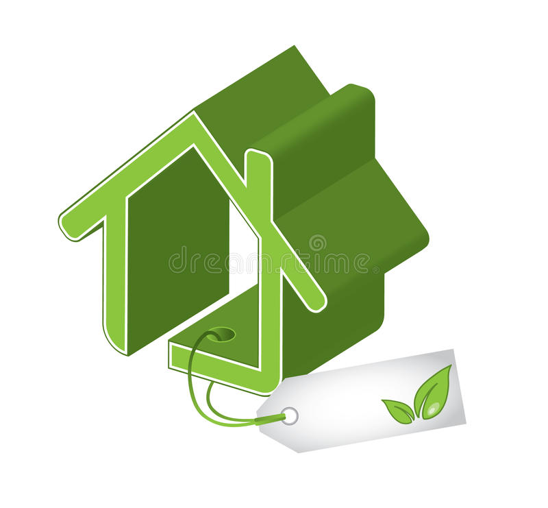 Casa verde con la hoja en etiqueta ilustración del vector