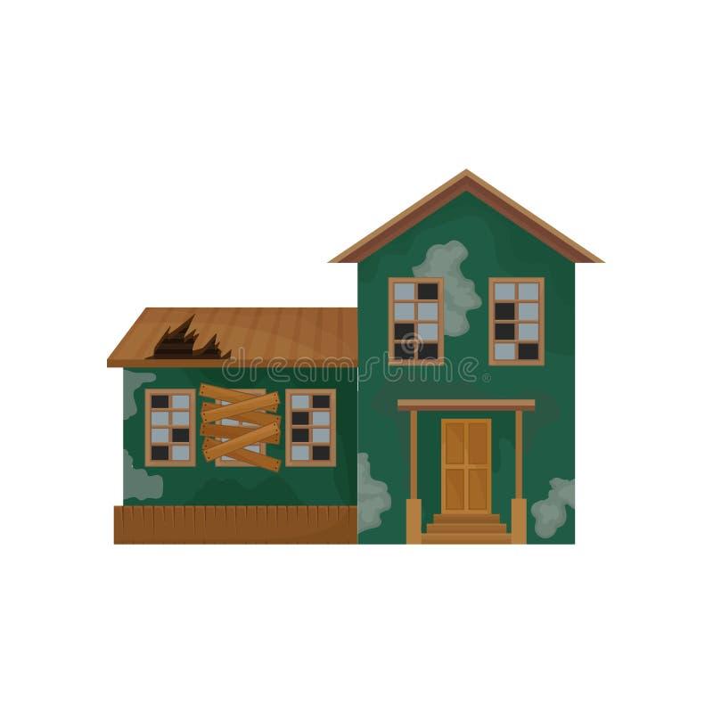 Casa verde con la peladura de la pintura, del tejado quebrado y de ventanas Abandonado a casa Propiedad privada Edificio viejo Di ilustración del vector