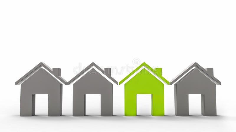 Casa verde da ecologia e três casas cinzentas ilustração do vetor