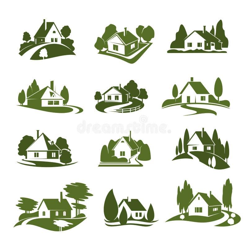 A casa verde de Eco com árvore e gramado isolou o ícone ilustração do vetor