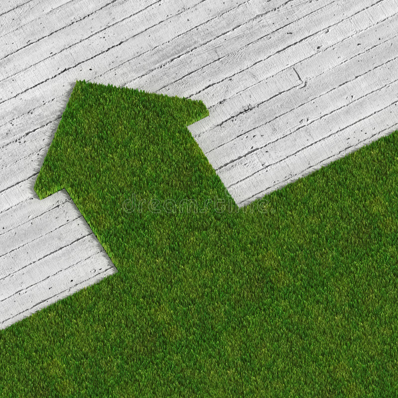 Casa verde de Eco contra el concreto foto de archivo