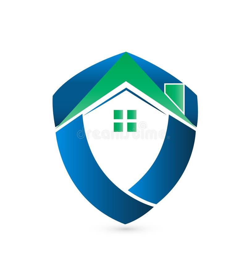 Casa verde del escudo ilustración del vector