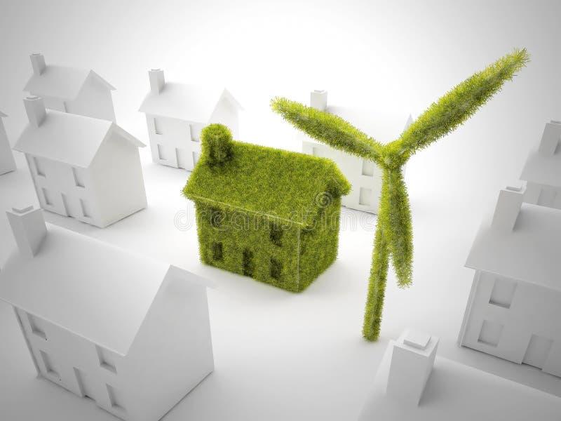 Casa verde di eco illustrazione vettoriale