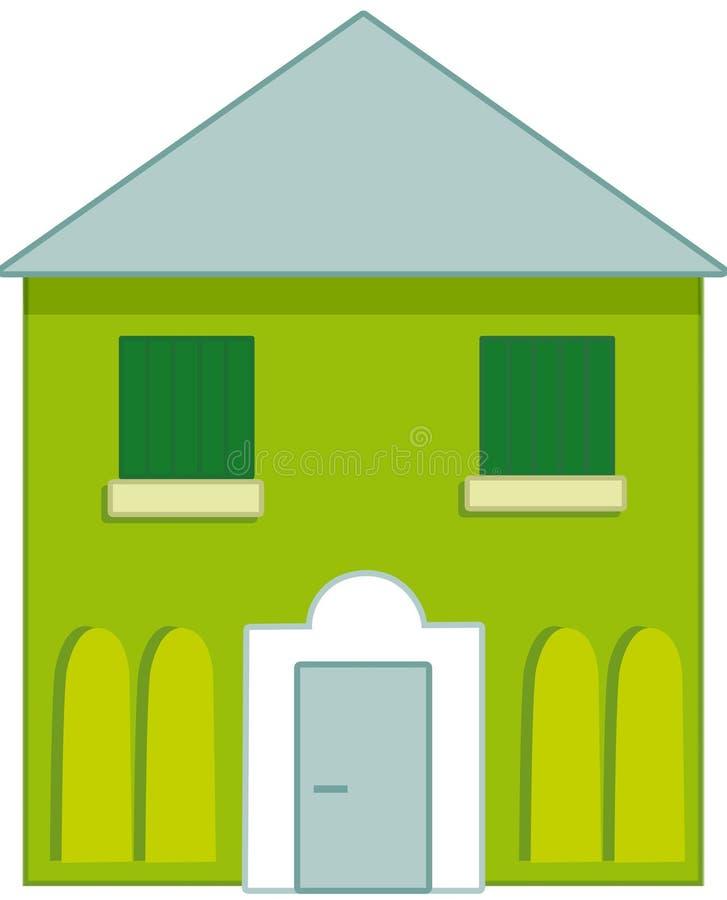 Casa verde e azul típica ilustração royalty free