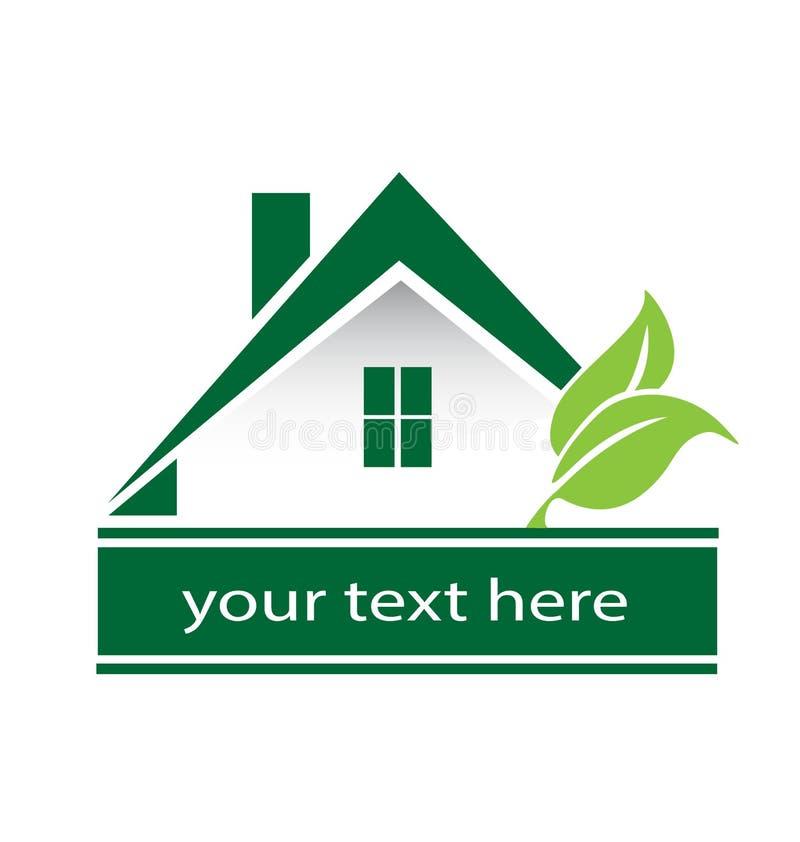 Casa verde e folhas do logotipo moderno ilustração do vetor