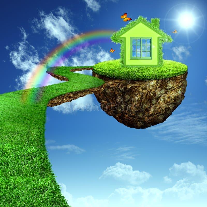 Casa verde engraçada. ilustração do vetor