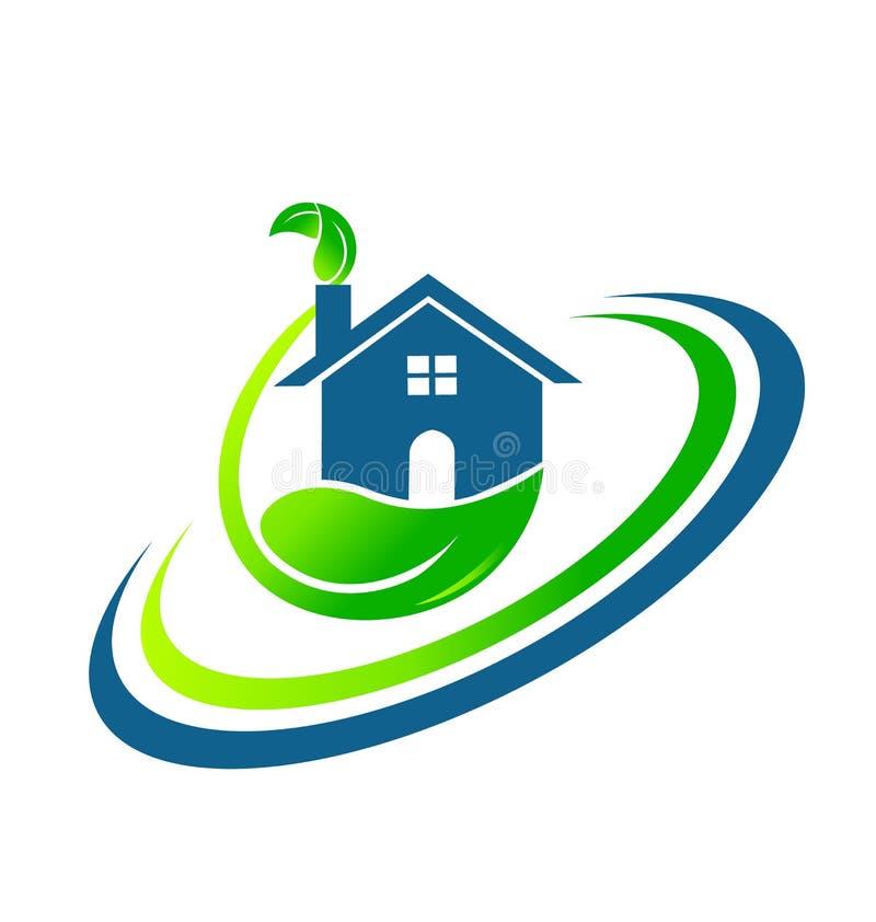 A casa verde folheia logotipo dos bens imobiliários ilustração do vetor