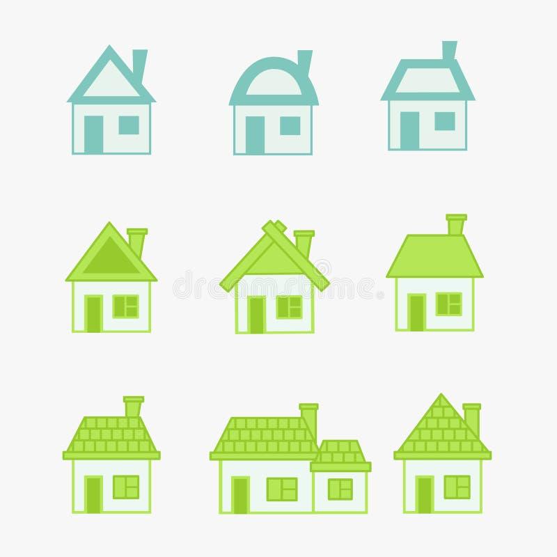 Casa verde y azul abstracta de los iconos ilustración del vector