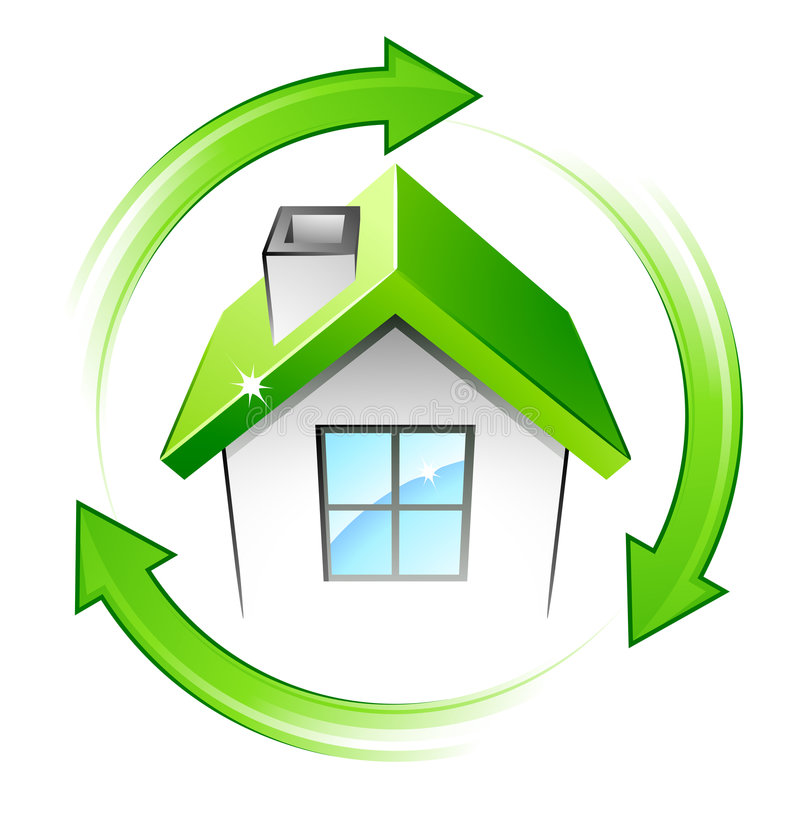 Casa verde y flechas stock de ilustración