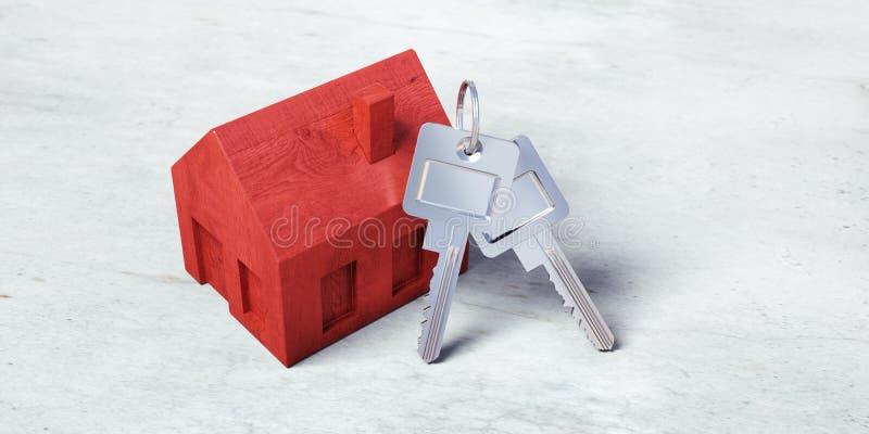 Casa vermelha do brinquedo com chaves de prata ilustração royalty free