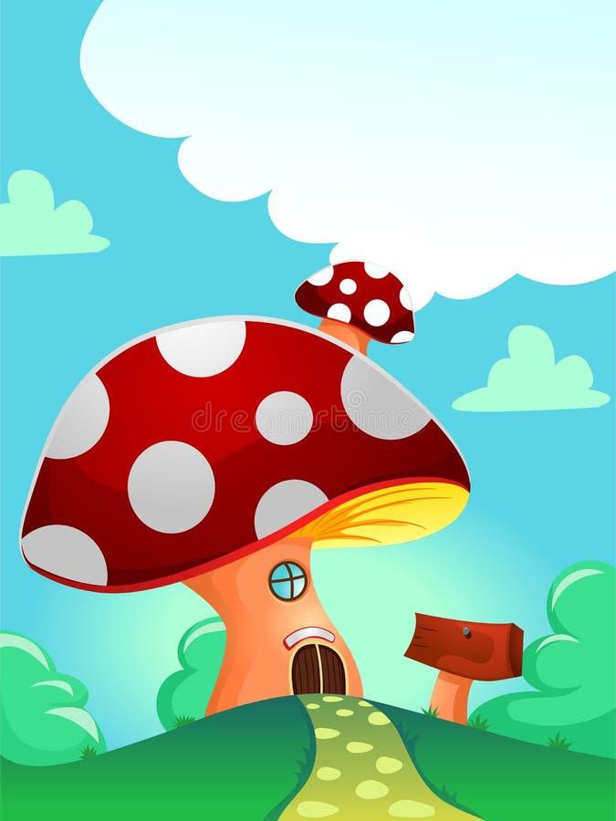 Casa vermelha do cogumelo ilustração stock