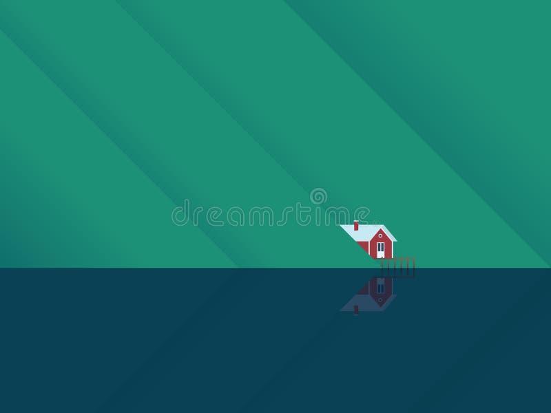 Casa vermelha do lago sob montanhas com reflexão da superfície da água A cabine escandinava do estilo como um lugar para o lazer, ilustração do vetor