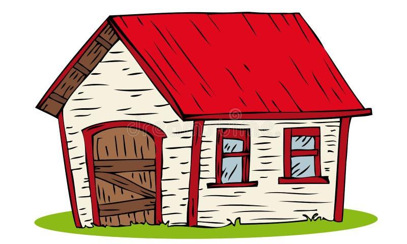 Casa vermelha do telhado. ilustração royalty free