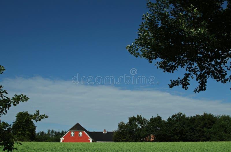 Casa vermelha em Denamrk imagem de stock