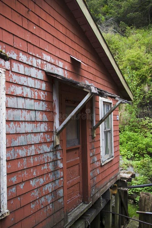 Casa vermelha velho Ketchikan Alaska imagens de stock