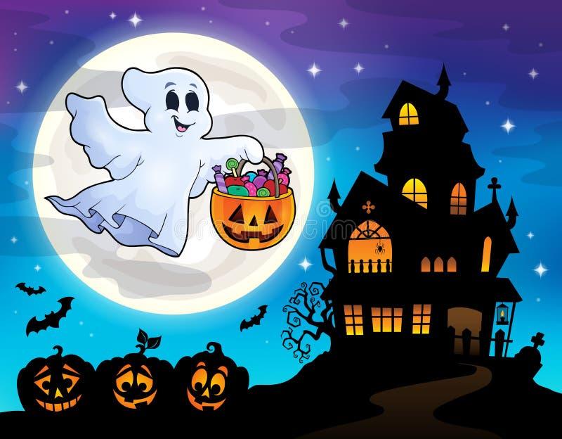 Casa vicino frequentata 2 del fantasma di Halloween illustrazione di stock