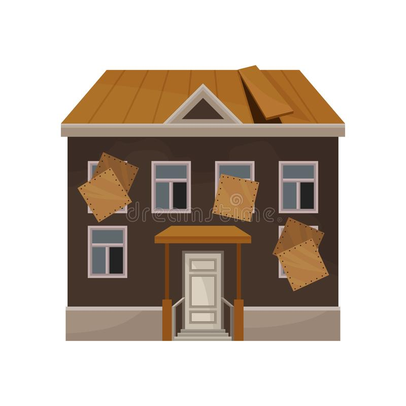 Casa vieja con el tejado quebrado y subida encima de ventanas Fachada del edificio abandonado Propiedad privada Icono plano del v stock de ilustración