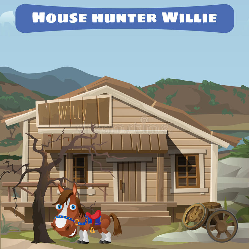 Casa vieja de madera del cazador y de su caballo ilustración del vector