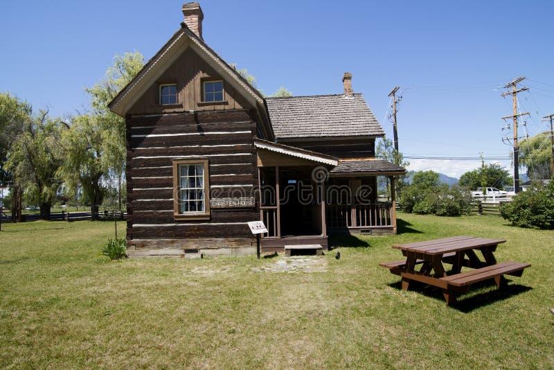 Casa vieja en el sitio de la misión de Pandosy fotos de archivo libres de regalías