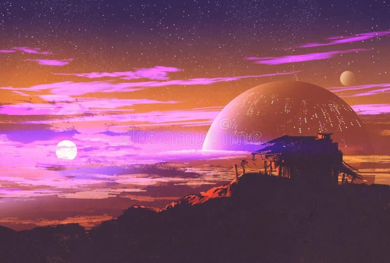 Casa vieja en fondo del planeta libre illustration