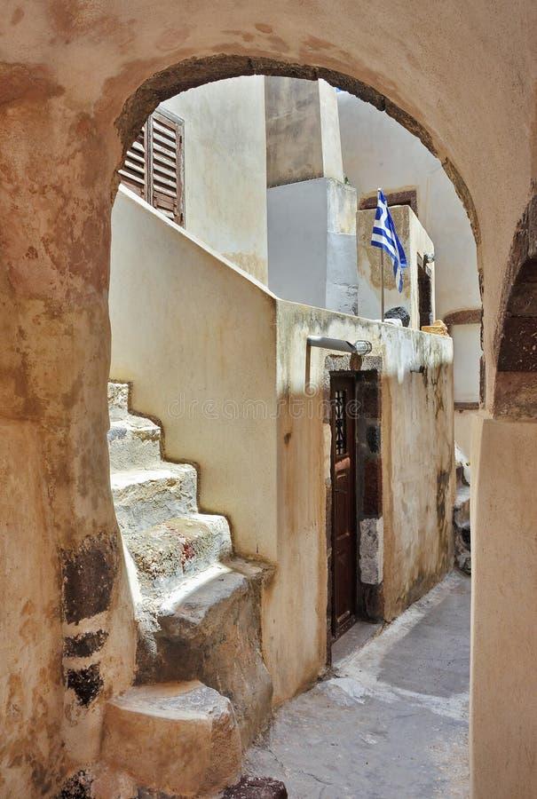 Casa vieja en Santorini fotografía de archivo