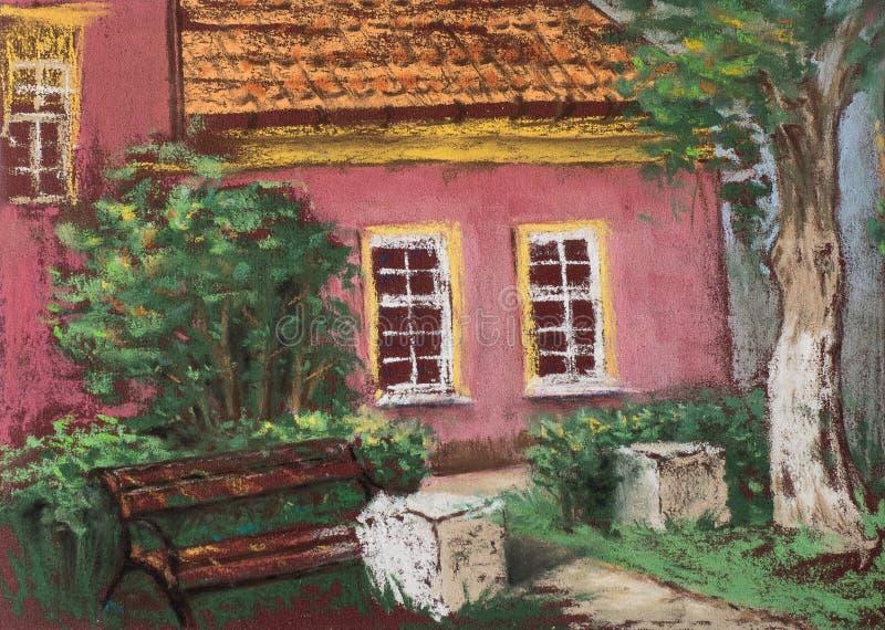 Casa vieja europea tradicional con el tejado tejado, el banco y el árbol verde Visión urbana Pasteles artísticos ilustración del vector