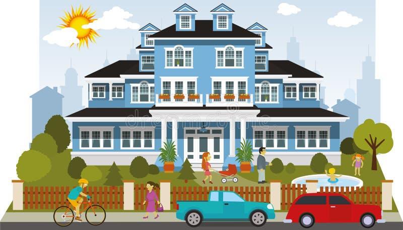 Casa vittoriana della famiglia royalty illustrazione gratis