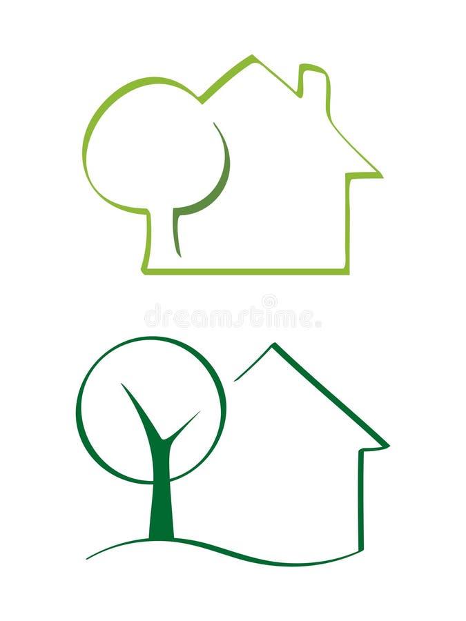 Casa y árbol libre illustration