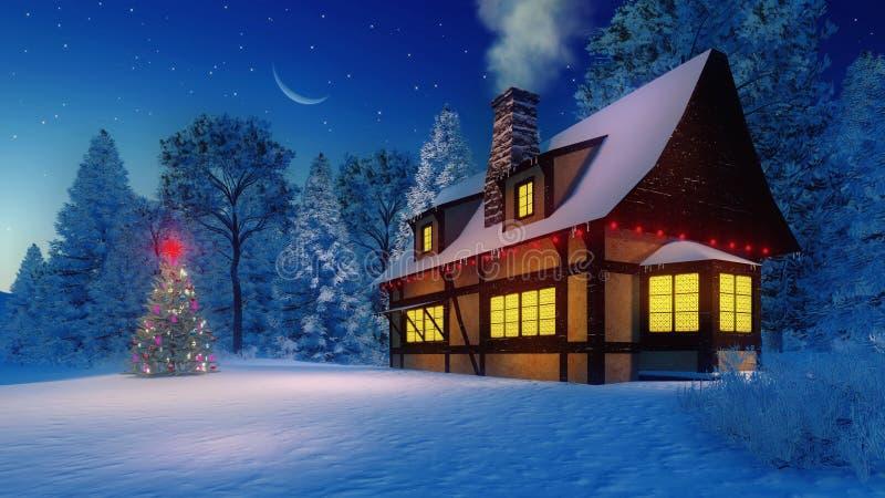 Casa y árbol de navidad rústicos iluminados en la noche fotos de archivo libres de regalías
