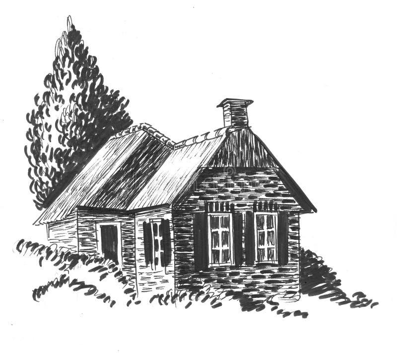Casa y árbol viejos libre illustration