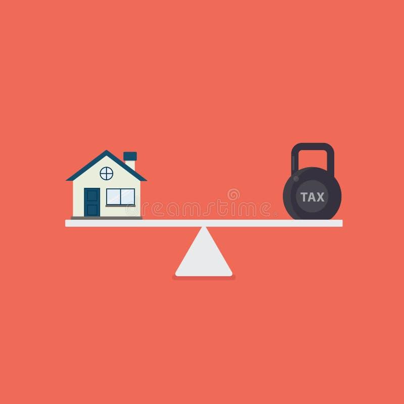 Casa y balanza del impuesto en la escala Planificación financiera Casa y kettlebell planos con palabra del impuesto en escalas libre illustration