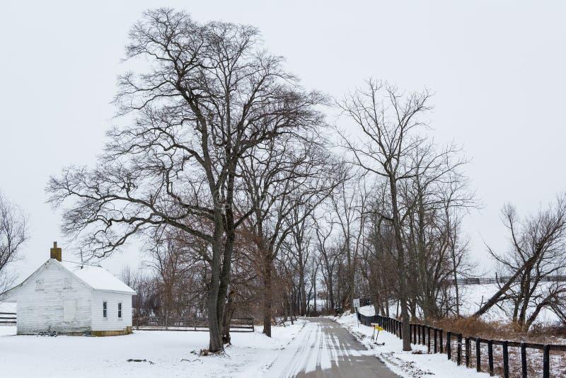 Casa y camino en un día de invierno, cerca de la nueva libertad, Pennsylvania fotografía de archivo