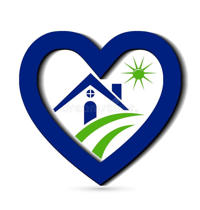 Casa y diseño azul del corazón ilustración del vector