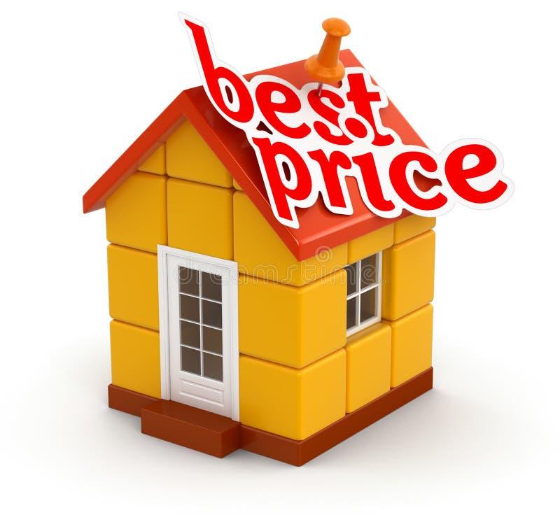 Casa y el mejor precio (trayectoria de recortes incluida) ilustración del vector