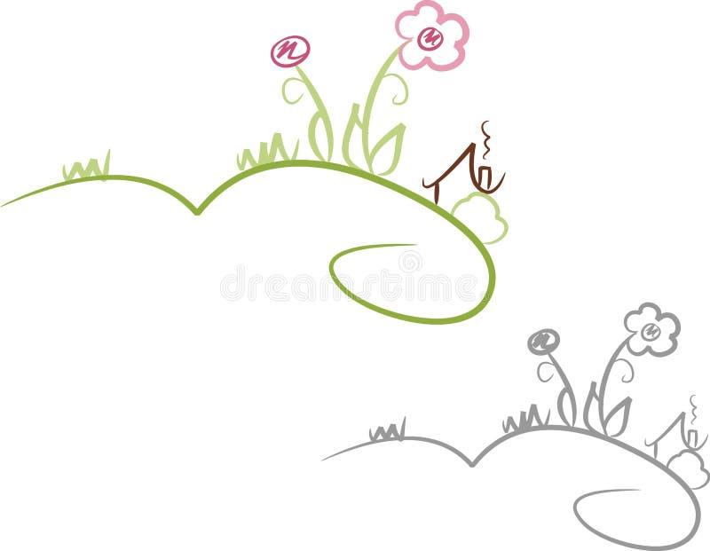 Casa y jardín en verano libre illustration