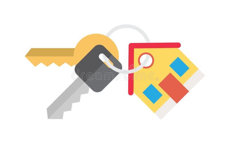 Casa y llave que venden el alquiler stock de ilustración