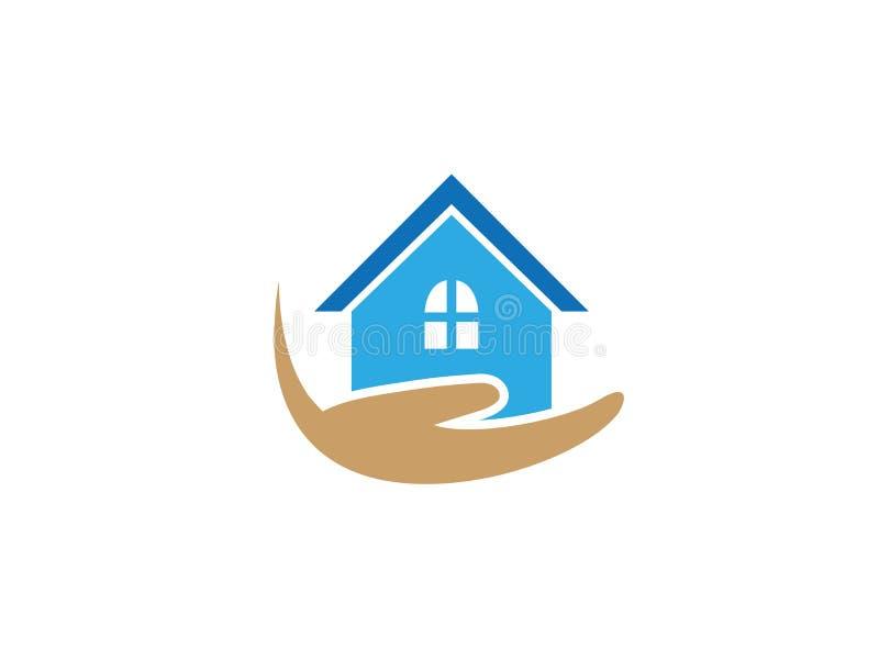 Casa y mano para el hogar del cuidador de familia para el logotipo stock de ilustración
