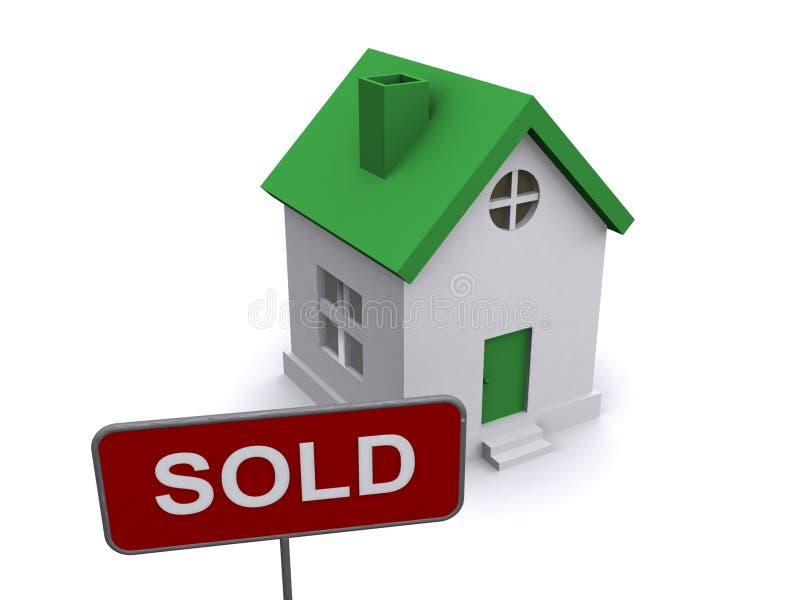 Casa y muestra vendida ilustración del vector